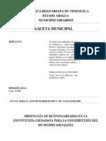 ORDENANZA DE RESPONSABILIDAD EN LA CONVIVENCIA CIUDADANA PARA LA CONSTRUCCIA N DEL MUNICIPIO SOCIALISTA