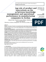 The mediating role of product and Mediating role of product and process innovations on the relationship between knowledge management and operational performance in manufacturing companies in Jordan