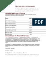 How to Calculate Dasha and Antardasha