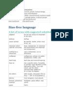 Bias Free language