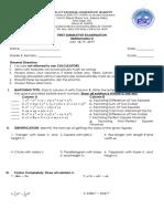Mathematics 8 First Summative Examination
