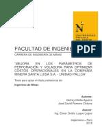 Mejora en Los Parámetros de Perforación y Voladura Para Optimizar Costos Operacionales en La Compañía Minera Santa Luisa s.a. - Unidad Pallca
