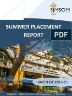 SJMSOM Summer Placement Report 2019