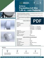 Parabolica Dupla Pol. 180cm - 4 GHz - Com Radome