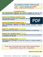 SIX REGULARISATIONS FISCALES_L.F n° 70-19 - « Année budgétaire 2020 »