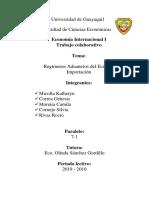 ECONOMIA INTERNACIONAL- REGIMEN DE IMPORTACION