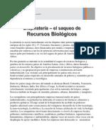Julio César Centeno. Biopiratería - El saqueo de recursos biológios. Julio de 2019