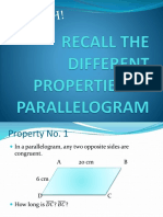 SOLVING PROBLEMS ON PROPERTIES OF PARALLELOGRAM