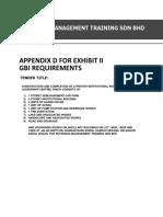 Appendix D - GBI Requirement