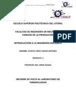 Informe de Introdución a ingeniería mecánica