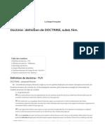 Doctrine _ définition de DOCTRINE, subst. fém. _ La langue française