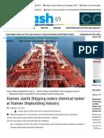 Xiamen Jianfa Shipping orders chemical tanker at Xiamen Shipbuilding Industry - Splash 247