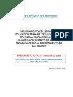 PERFIL. I.E PRIMARIA 00647 - SHAMPUYACU