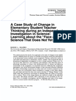 "A case study of change in elementary student teacher thinking during an independent investigation in science_ Learning about the ""face of science that does not yet know"""