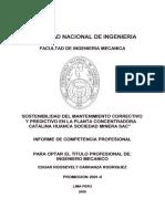 MANTENIMIENTO  DE PLANTA DE MINERA CATALINA HUANCA
