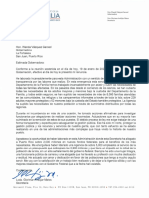 Carta de Renuncia de la secretaria de Familia