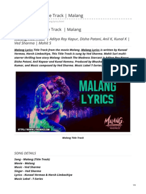 Malang Lyrics Title Track Malang Film Production Districts Cinema Of India