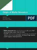 Origin of Water Resource
