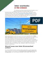 Stromanbieter Wechseln in Deutschland