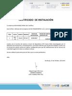 CERTIFICADO DE INSTALACIÓN JAVISE AFE-715