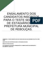 Ensalamento  - Processo Seletivo para Estagiários - Rebouças, 2020