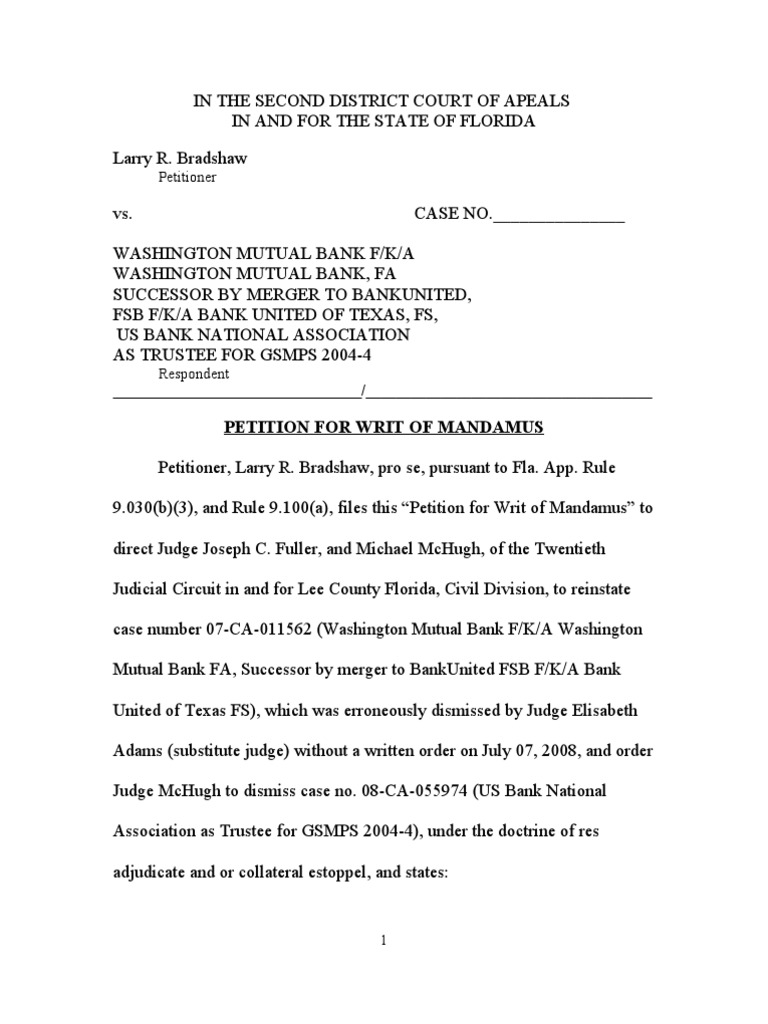 florida second district court of appeals petition for writ