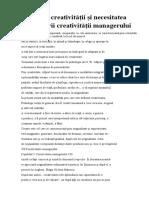 Definirea creativităţii şi necesitatea promovării creativităţii managerului