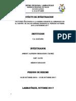 FACTORES ASOCIADOS A LA ANEMIA DURANTE EL EMBARAZO EN EL CENTRO  DE SALUD KAÑARIS DURANTE EL PERIODO OCTUBRE 2016 A SETIEMBRE 2017