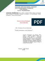 produção de texto 1° e 2° semestre direito a educação