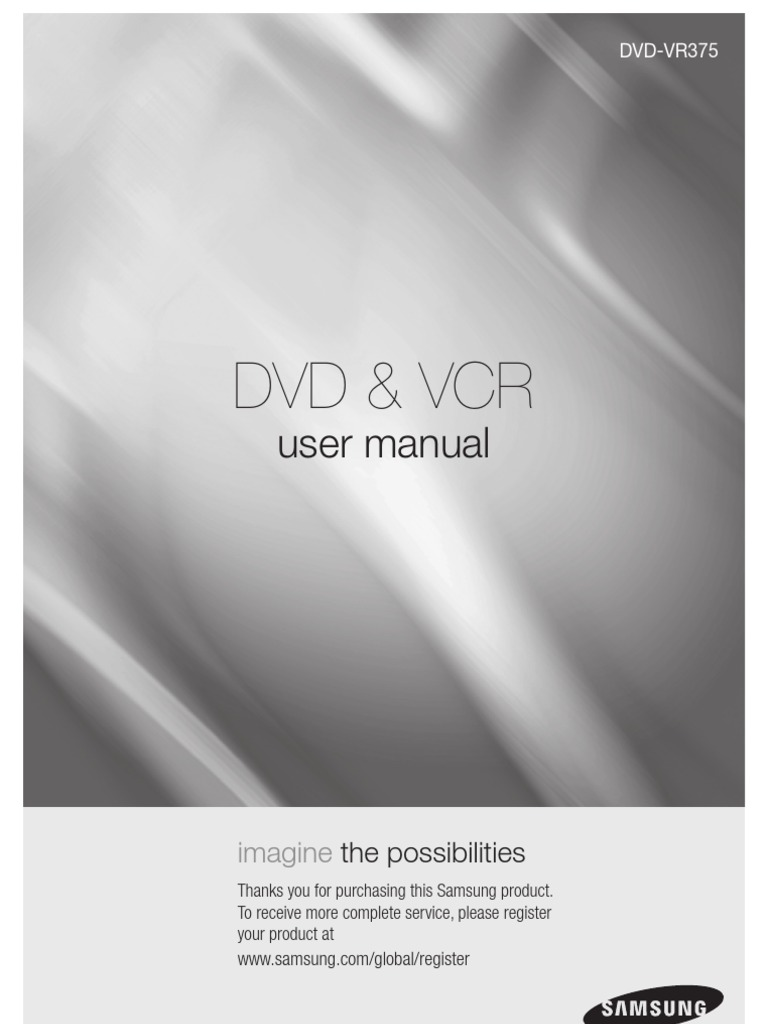 samsung vr375 dvd vcr recorder user manual hdmi videocassette rh scribd com samsung v6800 dvd vcr combo manual samsung dvd recorder & vcr dvd-vr 350 manual