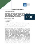 TERMINOS DE REFERENCIA CENTRO ESCOLAR  CANTON EL PEÑON