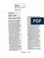 Manila Times, Jan. 21, 2020,Tackle ABS-CBN franchise bill, House urged.pdf