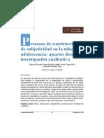 3 Garduño, M. D. L. v., Silva, A. D. v., & Puga, A. M. M. (2017). Procesos de Construcción de Subjetividad en La Niñez y La Adolescencia