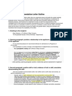A Detailed Recommendation Letter Outline