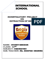 Chemistry project on EXTRACTION OF METAL CLASS 12