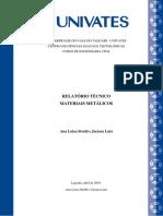 Modelo de relatório técnico - METAIS 2019A-monitoria