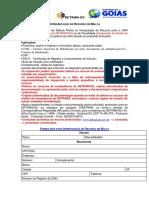 Formulário de recurso de multa de trânsito - Detran/GO