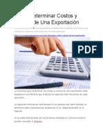 Como Determinar Costos y Precios de Una Exportación
