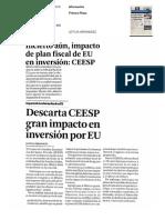 Incierto aun impacto de plan fiscal de EU en inversion CEESP