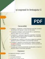 Operații și expresii în limbajului C
