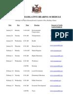 2020 Joint Legislative Hearing Schedule