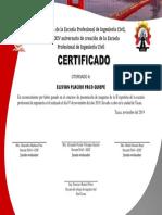 CERTIFICADO DE CONCURSO ANIVERSARIO ING CIVIL 2019