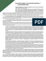 BALANCE DE LA SITUACIÓN MUNDIAL Y LATINOAMERICANA