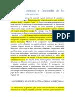 Propiedades químicas y funcionales de los componentes alimentarios