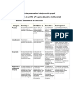 Rúbrica para evaluar trabajo escrito grupal listo ok