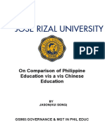 On Comparison of Philippine Education vis a vis Chinese Education_JASON(HUI SONG).docx