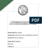 Maltz - propuesta programa - Letras - UBA