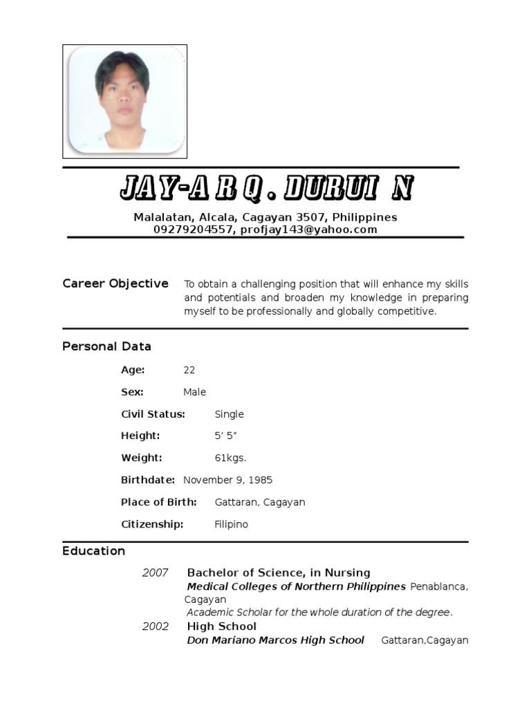 12147696 Resume Nurse 1 Pdf Nursing Hospital