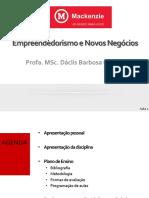 Empreendedorismo e Novos Negócios - aula 1 - Segundas - 2sem2019