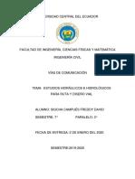 ESTUDIOS HIDRÁULICOS E HIDROLÓGICOS PARA RUTA Y DISEÑO VIAL